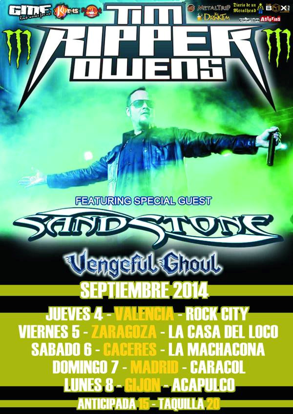 "Tim ""Ripper"" Owens + Sand Stone + Vengeful Ghoul Rock City (Valencia)"