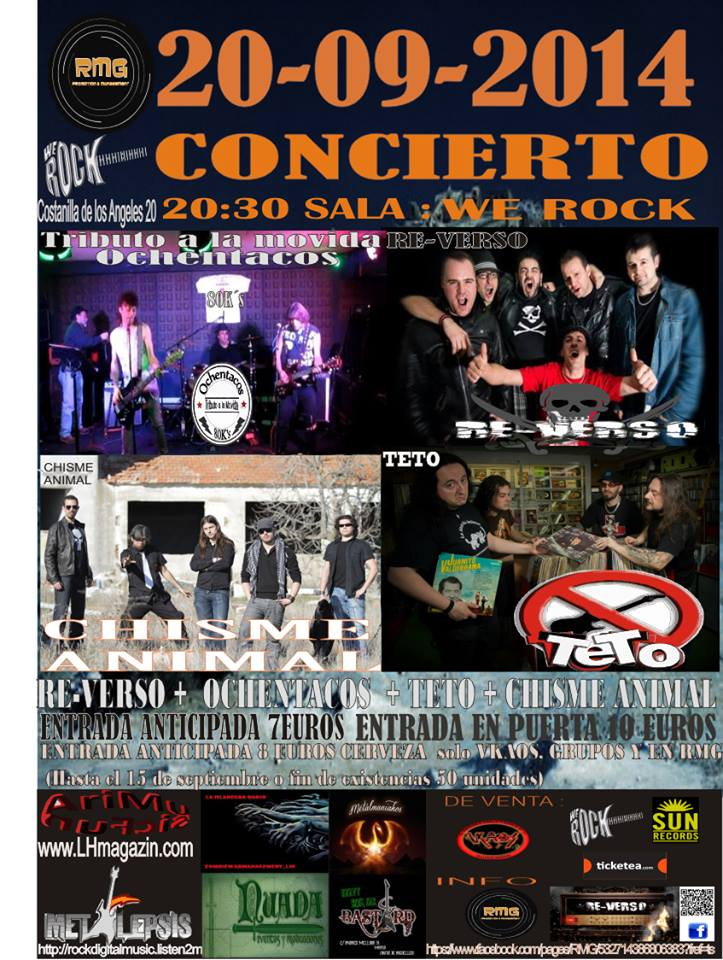 Re-verso + Ochentacos + Chisme Animal + Teto We Rock (Madrid)
