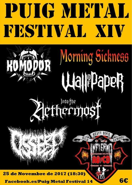 Komodor + Morning Sickness + Wall of Paper + Into the Nethermost + Osserp Infierno (Terrassa)