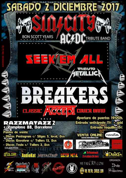 Sin City + Seek'em All + Breakers Razzmatazz 2 (Barcelona)