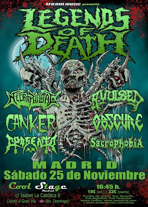 Necrophiliac + Avulsed + Canker + Obscure + Aposento + Sacrophobia Cool Stage (Madrid)