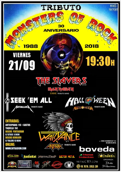 The Slavers + Seek'em All + Halloween + WarDance Bóveda (Barcelona)