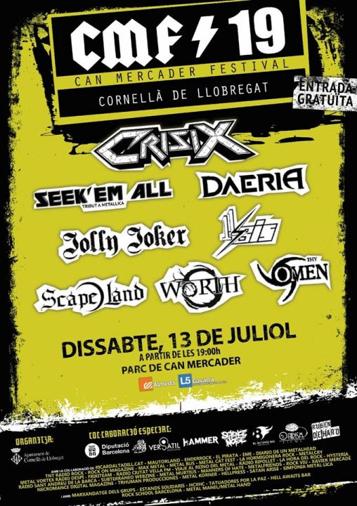 Crisix + Seek'em All + Daeria + Jolly Joker + 11 bis + Scape Land + Worth + Thy Omen Parc de Can Mercader (Cornellà de Llobregat)