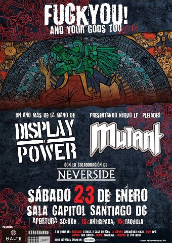 Display of Power + Mutant + Neverside - 23/01/2016 Capitol (Santiago)